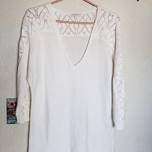 Knitted sweater shirt white